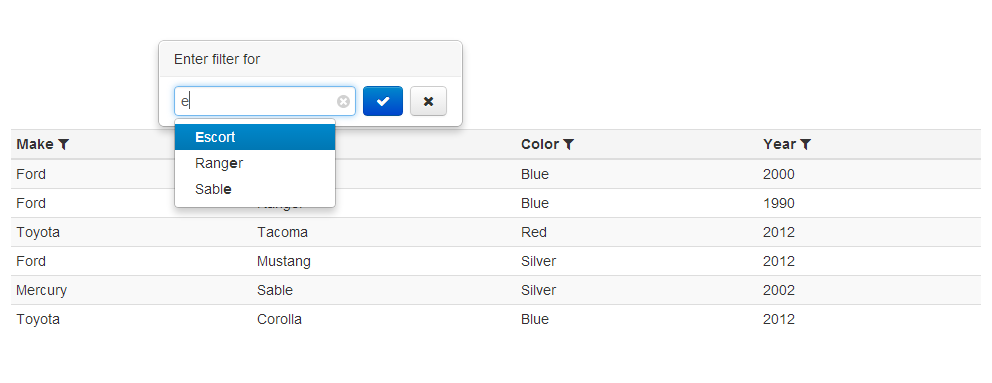 Filterable - Bootstrap themed per-column filter for an HTML table