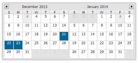 jCal - Multiday Calendar Datepicker JQuery Plugin